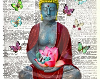 Buddha Butterfly Lotus Flower Dictionary Digital Collage Sheet image transfer greeting cards decor printable art - U Print 300jpg