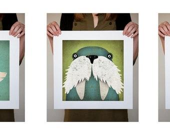 Walrus, Mister Fox, and Polar Bear Art Illustration THREE 12x12 giclee prints SIGNED