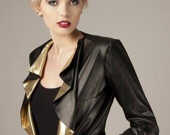 Black gold jacket Faux leather jacket Waterfall jacket Gold statement jacket