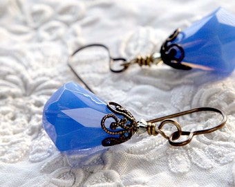 opalescent blue crystal earrings with tiny Swarovski crystals: blue earrings, Victorian style filigree , USA brass or niobium earrings