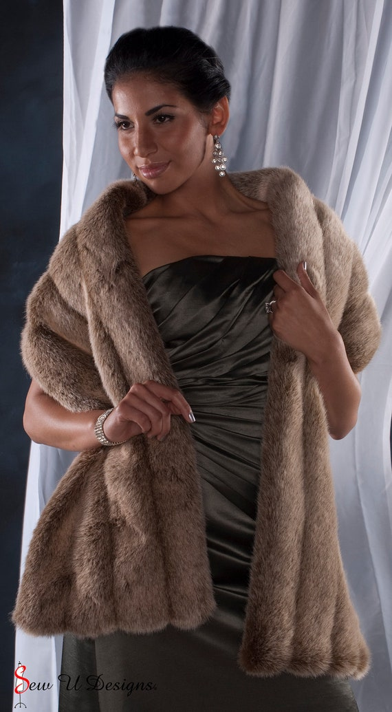 Frosted Light Brown Faux Fur Winter Wedding Stole By
