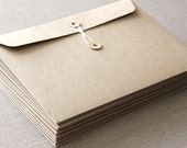 5 String and Button Envelopes - C5 large brown kraft string & tie envelope for invitations and social stationery