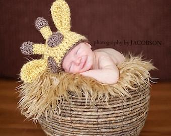 Crochet Baby Giraffe Beanie, Custom Made, Newborn, 0-3, 3-6 Months, Boy, Girl, Photo Prop, Baby Shower Gift, Animal Hat, Pink, Blue, Yellow