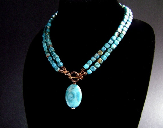 Blue Agate Necklace, 50% OFF SALE, Turquoise Crazy Lace Agate, Copper, Gemstone Jewelry, T Bar, 135