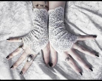 Vinye Lace Fingerless Gloves - Pale Silver Dove Grey - Ivory Off White Floral Vines - Wedding Gothic Regency Tribal Goth Austen Fetish