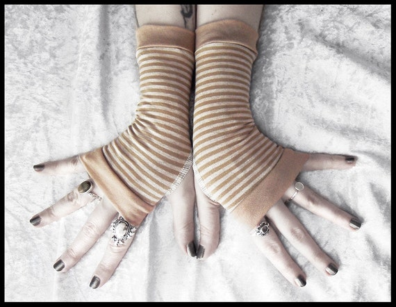 Sand Storm Fingerless Gloves - Camel Tan Light Brown Heathered Cream White Tiny Stripes Cotton - Gothic Yoga Tribal Cycling Bohemian Goth
