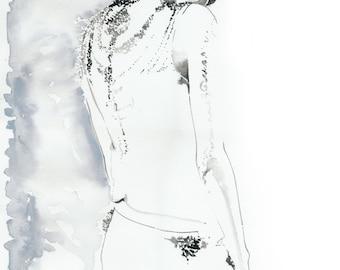Fashion Illustration, Fashion Ink Sketch, Watercolour Fashion Illustration, Cate Parr, Fashion Poster, Fashion Wall Art, Fashion Invite art
