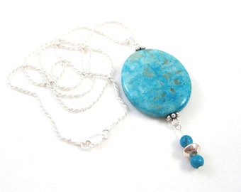 Blue Agate Necklace, Turquoise Gemstone Beads, Sterling Silver Beading, Quality .925 Sterling Rope Chain, Oval Pendant Necklace, SRAJD