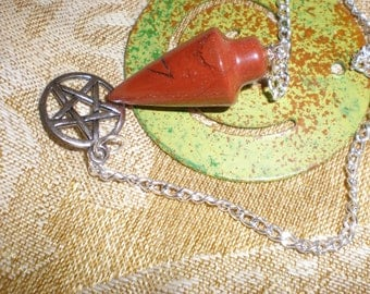 Pendulum Red Jasper Stone On Silver Chain With Pentacle Charm Magickal Divination Tool