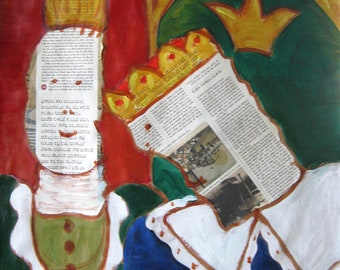 King and Quen - Original Collage Mixed Media Acrylic Painting