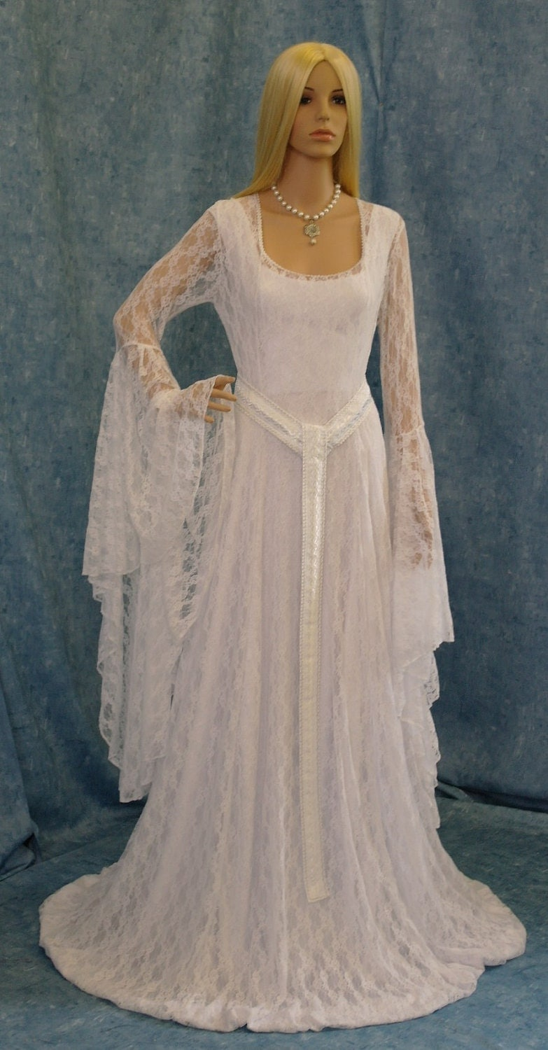 White lace wedding gown elven dress medieval by for Renaissance inspired wedding dress