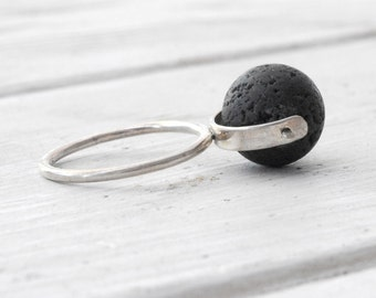Black Lava Rock Ring, Sterling Silver Lava Spinner Ring, Geometric Architectural Ring, Wearable Art Ring, Size Made to Order, Santorini Lava