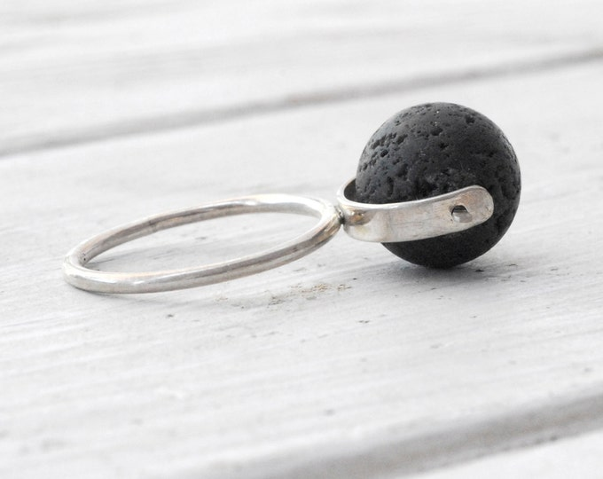 Featured listing image: Black Lava Rock Ring, Sterling Silver Lava Spinner Ring, Geometric Architectural Ring, Wearable Art Ring, Size Made to Order, Santorini Lava