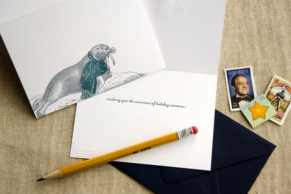 A Warm Holiday Greeting (a walrus-y holiday greeting in 5 letterpress printed cards & 5 envelopes)