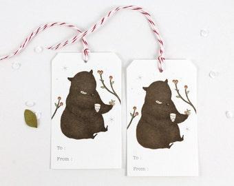 10 Gift Tags - Bear & Cupcake
