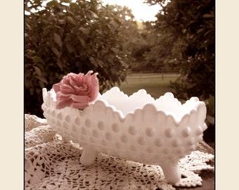 Vintage Fenton Milk Glass Hobnail Centerpiece/ Fenton Pickle Dish /  Candy Dish / Milk Glass Wedding