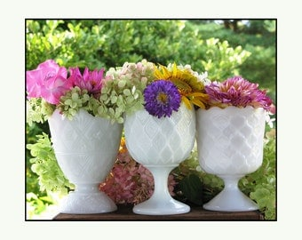 Vintage Milk Glass Collection / Milk Glass Wedding Centerpieces / Wedding Decor