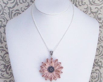 Blush Pink Necklace, Blush Pink Flower Necklace, Pink Flower Pendant Necklace, Unique Handmade Necklace for Women, Blush Pink Jewelry