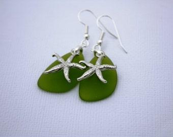 Green Sea Glass Earrings Starfish Earrings Star Fish Seaglass Earrings Starfish Jewelry Sea Glass Jewelry Beach Jewelry Seaglass Jewelry 069