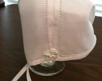 Magic Hanky Bonnet, Irish Linen, boy or girl, gift boxed, new baby, baby shower gift, baptism, christening bonnet
