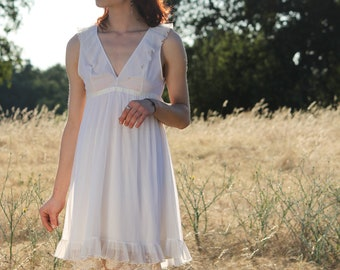 DAWN 1970's Vintage Babydoll Night Gown Slip Dress White Nylon Ribbon Trim and Ruffles