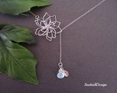 Lotus Necklace, Birthstone Necklace, Initial Necklace, Aquamarine Necklace, Sister Necklace, Mother Necklace, Personalized Jewelry, Mom gift