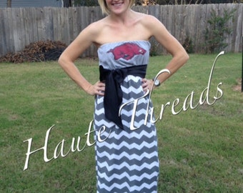 Custom Made One-of-a-Kind Collegiate Gameday MAXI Dress - Made from YOUR Favorite T-Shirt