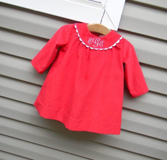 Girls Red Corduroy Monogrammed Long Sleeve Dress