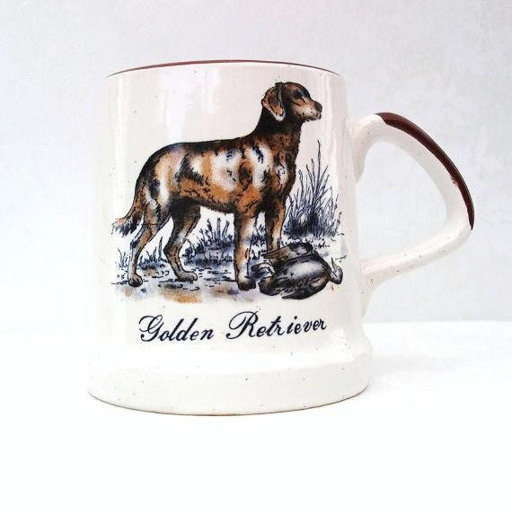 Vintage Golden Retriever Coffee Mug / Dog Lover Mug / Beer Stein / Enesco Imports