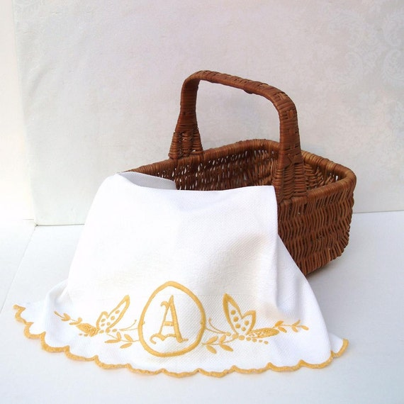 Vintage Monogram Dish Towel Letter A Large Kitchen Towel Embroidered Linens Butterflies Yellow White