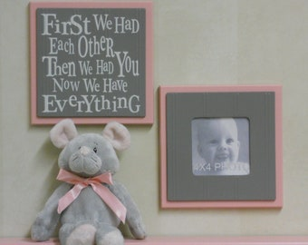 Pink and Gray | Gift for New Mom | Wall Hanging Decor Sign