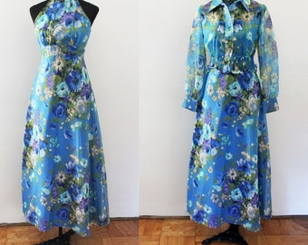 Vintage Floral Maxi Dress, 2 piece dress and jacket, SHEER balloon sleeves, Halter high neck