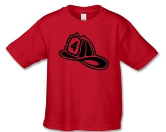 Fireman Helmet Birthday Shirt - 4th Birthday T-Shirt - Choose Your Birthday Number - Personalized Birthday Shirts - Fireman Birthday Party