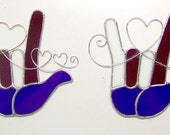 Your Choice - Red White & Blue American Sign Language I Love the USA Tiffany Stained Glass ASL Heart Gift OOAK Handcrafted Artisan