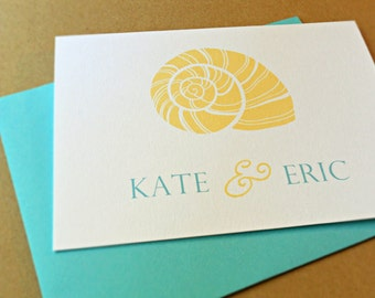 Personalized Wedding Stationery / Thank You Cards, Seashell, 25-Count
