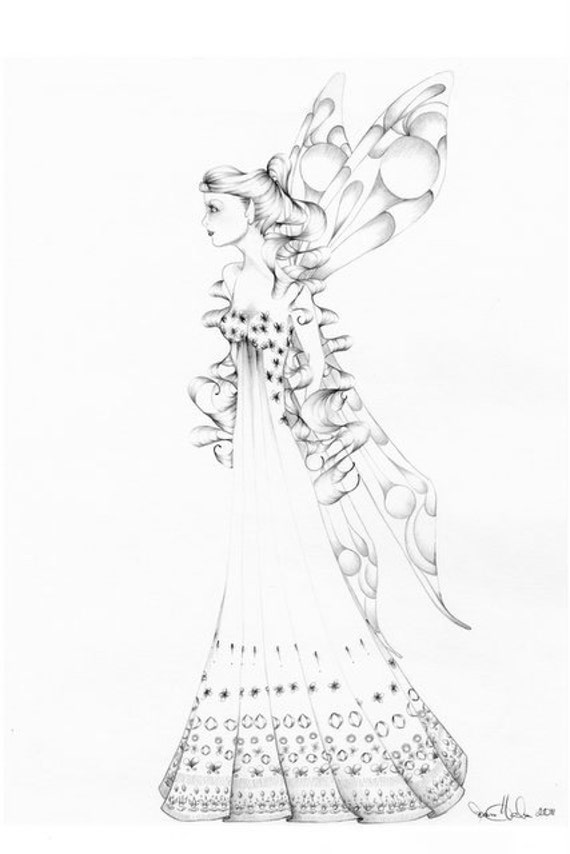 Fairy Art OOAK Pencil Drawing Illustration Faery Pencil Drawing Black and White Minimalist Art Pencil Drawing Home Decor Wall Art teamt