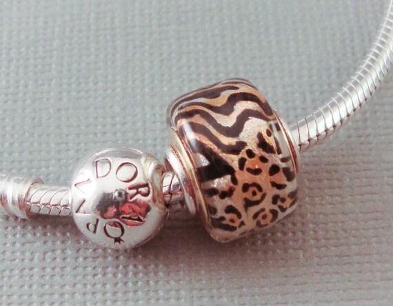 Big Hole Bead Lampwork Euro Charm -Animal Print Disc- SRA Artist (Made to Order) Handpainted