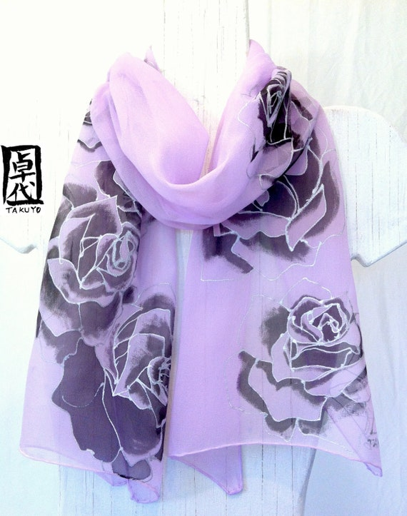 Hand Painted Silk Scarf Purple Roses. Purple Silk Scarf. Floral Scarf. Silk Chiffon Scarf. Silk Scarves Takuyo. 11x59 in.