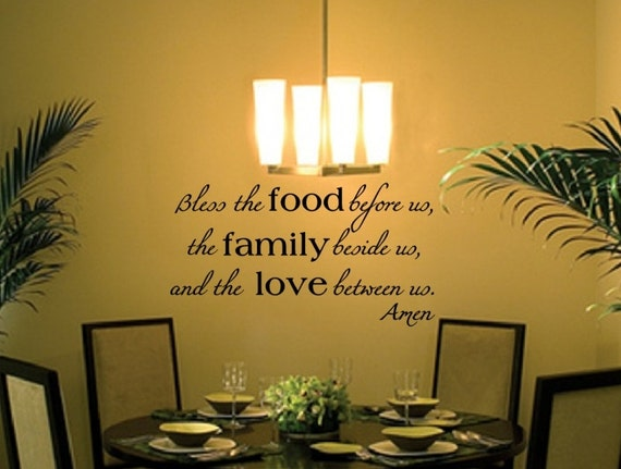 Blessing Wall Decal - Christian Wall Decal - Bless the Food Family Love Vinyl Wall Decal - Christian Decor 22195