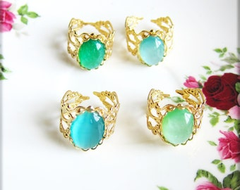 Green Ring Gold Ring Aqua Turquoise Blue Ring Bohemian Jewelry Aquamarine Mint Green Ring Mint Ring Victorian Antique Vintage Style