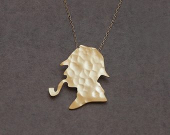 Sherlock Holmes Silhouette Gold Necklace , Detective Necklace , Sherlock Necklace , Sherlock Holmes Jewelry , Sherlock Holmes Charm