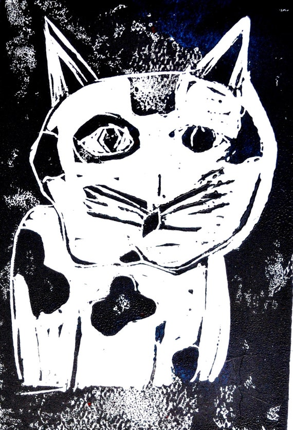 "11X14 ""Sad Kitty"" linocut print by Catherine Baublite - CatherineBaublite"