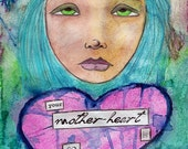 "Mother's Day Fine Art Print 8"" x 12"" - ""Mother-Heart"" - Art for Bereaved or Infertile Mothers, Babyloss & Infertility Sympathy Gift"