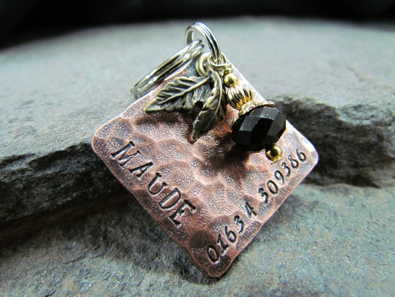 Pet ID tag - Hammered Square Copper Domed Hand Stamped Pet Tag - Dog tag/tags