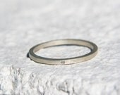 Thin sterling silver or gold square band with 1mm eco friendly diamond, simple thin ring, gift for her, tiny engagement ring or wedding band