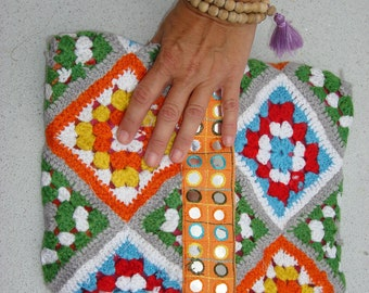 Handmade beautiful bohemian  hippy multicolor women clutch for  the summer.