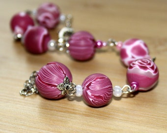 Rose Rhapsody - Polymer Clay Bracelet