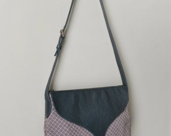 SALE! Fabric and Leather Shoulder Bag, Leather and Tapestry Hobo Bag, Handmade in NYC Handbag Grey and Green Women's Everyday Bag