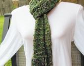 Knit Scarf. Trellis Ladder Ribbon Scarf. Neckwarmer. Green
