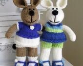 Hand Knit Bunny Rabbit Stuffed Animal - Child Toy - Knit Toy - Plush Bunny  -Kids Toy - Small Toy - Plush Doll - Knitted Stuffed Rabbit